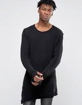 Criminal Damage Longline Long Sleeve T-Shirt With Asymmetric Raw Hem