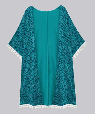 A.T.U.N. Women's Open Cardigans teal-navy - Teal & Navy Leopard Short-Sleeve Tassel-Hem Open Cardigan - Women & Plus