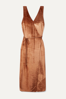 Vince Velvet Wrap Dress - Bronze