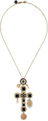 Dolce & Gabbana 18kt Yellow Gold Sapphire Cross Charm Necklace