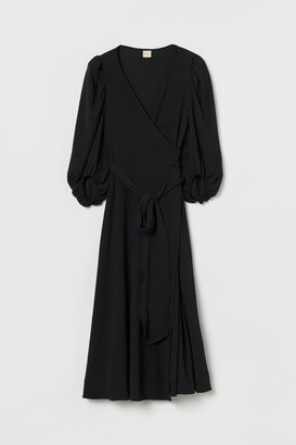 H&M Puff-sleeved Wrap Dress - Black
