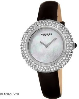 Akribos XXIV Ladies Crystal Swarovski Studded Fashion Leather Strap Watch