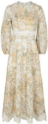 Zimmermann Amelie printed eyelet-embroidered linen maxi dress