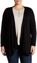 Bobeau Long Sleeve Drape Cardigan (Plus Size)