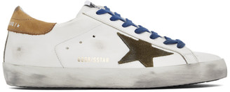 Golden Goose White and Khaki Superstar Sneakers
