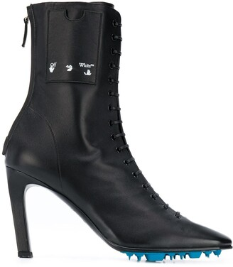 Off-White Lace-Up 105mm Leather Ankle Boots
