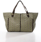 Be & D Brown Ivory Leather Large Woven Tote Handbag