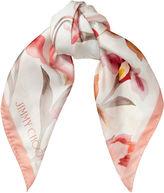 Jimmy Choo ARI Ivory Tea Rose Silk Printed Scarf