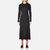 Helmut Lang Women's Double Rib Knit Detached Cuff Dress Heather Grey