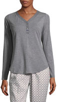 Liz Claiborne Long Sleeve Henley Pajama Top