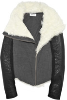 Shearling-trimmed jersey jacket