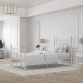 DHP Manila Metal Bed, White, Twin