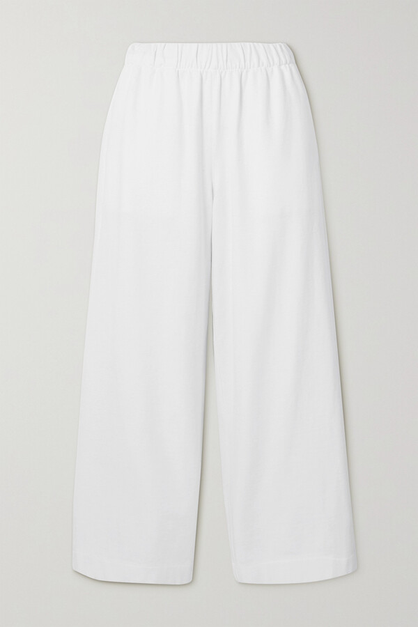 Thumbnail for your product : Vince Cropped Ribbed Cotton-jersey Wide-leg Pants - White