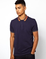 Asos Polo With Neon Tipped Collar And Contrast Cuff