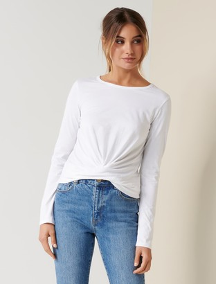 Forever New Willow Long-Sleeve Twist Tee - Porcelain - l