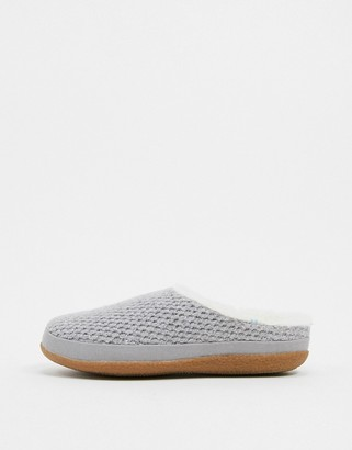 Toms Ivy knit fluffy lined slippers in gray