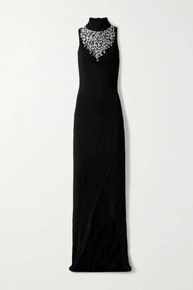 Balmain - Crystal-embellished Stretch-jersey Turtleneck Gown - Black