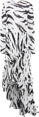 Philosophy di Lorenzo Serafini Asymmetric Ruffled Zebra-print Chiffon Dress