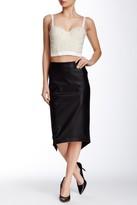 Gracia Faux Leather Back V Split Skirt