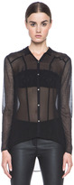 Helmut Lang Jersey Ghost Button Up in Black