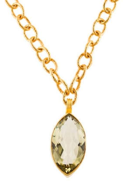 Dina Mackney Quartz Pendant Necklace Gold Quartz Pendant Necklace