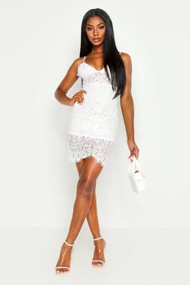boohoo Strappy Lace Midi Bodycon Dress