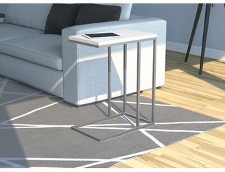 Mercer41 Zigler Accent Metal Frame End Table Table Base Color: Silver, Table Top Color: White