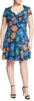 Neiman Marcus Sweetheart Floral-Print Dress, Black, Plus Size