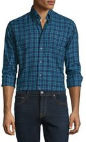 Eton Plaid Long-Sleeve Woven Sport Shirt, Navy/Turquoise