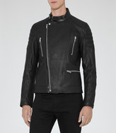 Reiss Reiss Harley - Grained Leather Biker Jacket In Black
