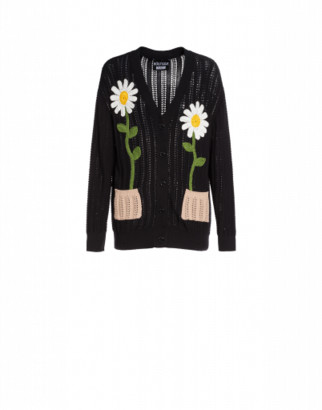 Boutique Moschino Openwork Cardigan Daisy Embroidery Woman Black Size 38 It - (4 Us)