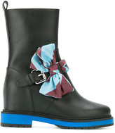Fendi leather boots with bow detail - women - Cotton/Leather/rubber - 36