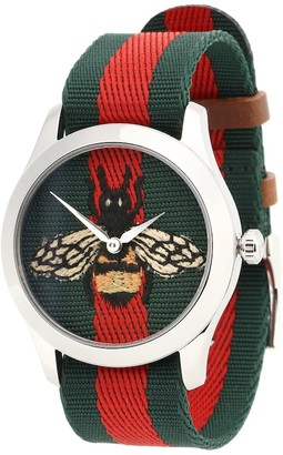Gucci G-Timeless stainless steel and nylon watch