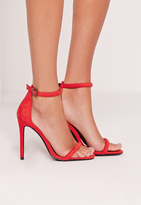 Missguided Rounded Strap Barely There Sandal Red