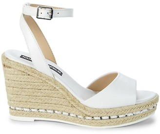 Karl Lagerfeld Paris Carin Leather Espadrille Wedge Sandals