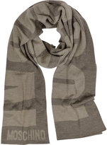 Moschino Brown Signature Wool Long Scarf