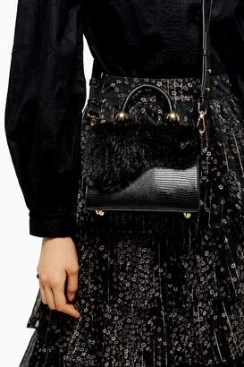 Topshop Womens Carmen Black Faux Fur Cross Body Bag - Black
