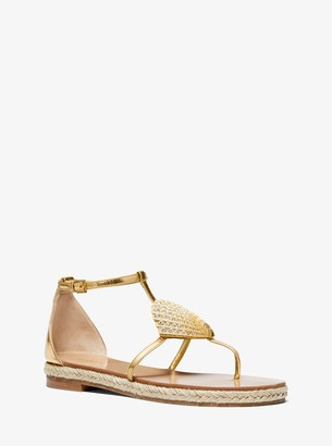 Michael Kors Annabeth Seashell-Embellished Metallic Leather Sandal