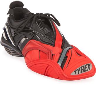 Balenciaga Men's Tyrex Mixed-Media Sneakers