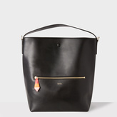 Paul Smith Women's Black Leather Hobo Bag With 'Artist Stripe' Lining