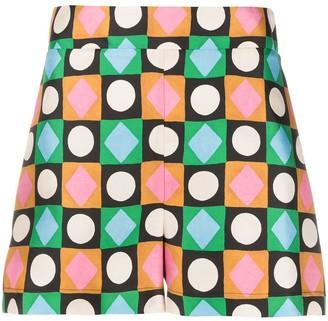La DoubleJ Geometric-Print Silk Shorts