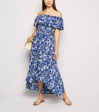 New Look Mela Floral Bardot Dip Hem Maxi Dress