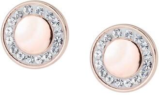 Evoke Rose Gold Plated Sterling Silver Swarovski Crystals 7.7mm Round Stud Earrings