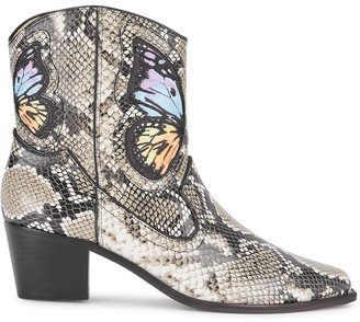 Sophia Webster Shelby 50 snake-print leather ankle boots