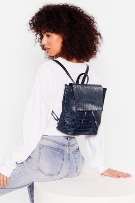 Nasty Gal Womens WANT Go Croc Yourself Faux Leather Backpack - Black - ONE SIZE, Black
