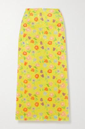 BERNADETTE Roxanne Sequined Tulle Midi Skirt - Yellow