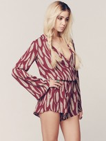 Blue Life Boho Sleeve Romper in Bordeaux Feather
