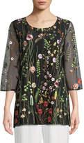 Caroline Rose Garden Walk Embroidered Layered Tunic, Plus Size