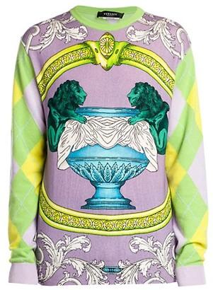 Versace Baroque Argyle Cashmere Sweater
