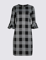 M&S Collection Cotton Rich Checked 3/4 Sleeve Tunic Dress